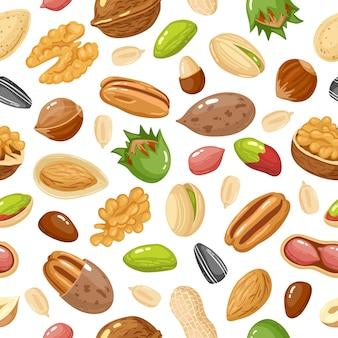 Ilustração de padrão sem emenda de grãos e sementes