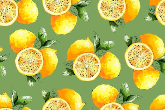Ilustração de padrão sem emenda de limão