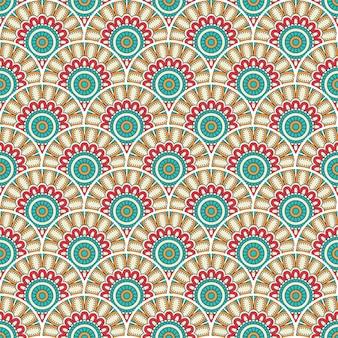Ilustração de padrão sem emenda de mandala colorida