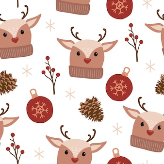 Ilustração de padrão sem emenda de ornamento de pinha de rena de feriado de natal para tecido têxtil