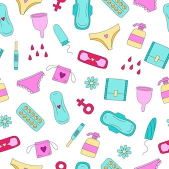 Ilustração de padrão uniforme com absorventes internos para produtos de higiene feminina