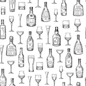 Ilustração de padrão vetorial com garrafas de bebida de álcool de mão desenhada e óculos