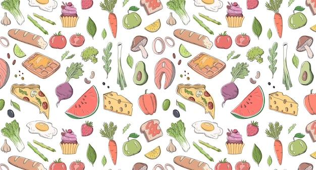 Ilustração de padrão vetorial desenhada à mão com comida diferente