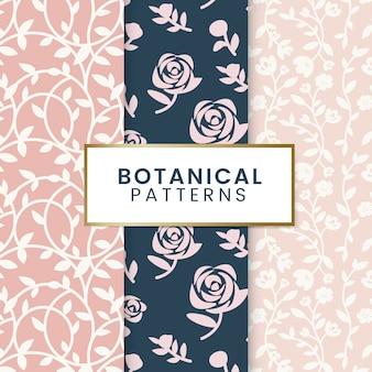 Ilustração de padrões florais botânicos