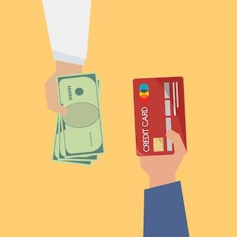 Ilustração, de, pagamento, com, cartão crédito