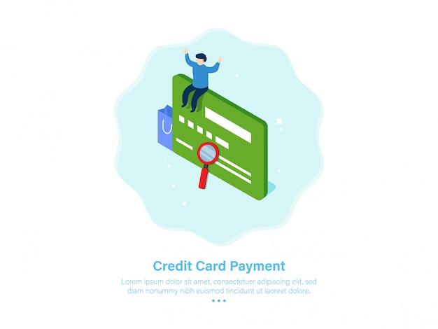 Ilustração de pagamento com cartão de crédito isométrica