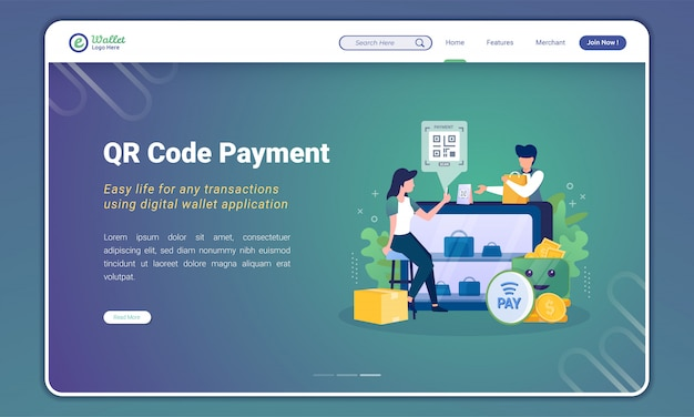 Ilustração de pagamento de código qr para o conceito de carteira digital na página de destino