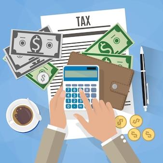 Ilustração de pagamento de imposto