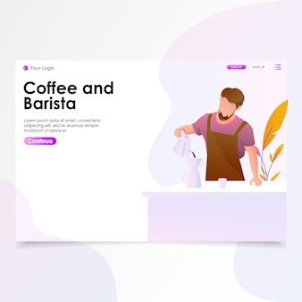 Ilustração de página de aterragem de café e barista