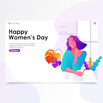 Ilustração de página de aterragem de dia de mulher