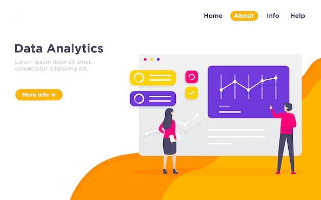 Ilustração de página de aterrissagem analítica de dados