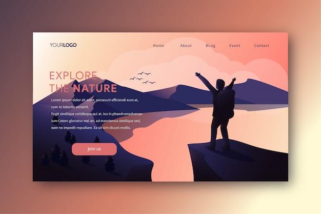 Ilustração de página de aterrissagem com caminhadas homem no pico