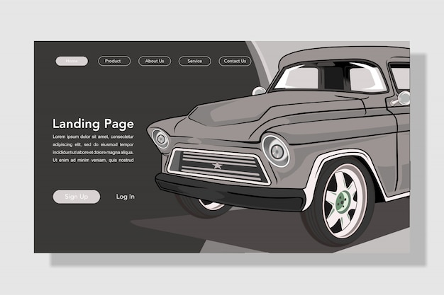 Ilustração de página de aterrissagem de carro moderno estilo simples