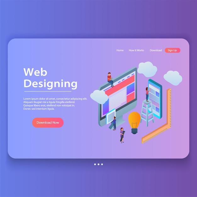 Ilustração de página de aterrissagem de gradiente isométrica conceito web design