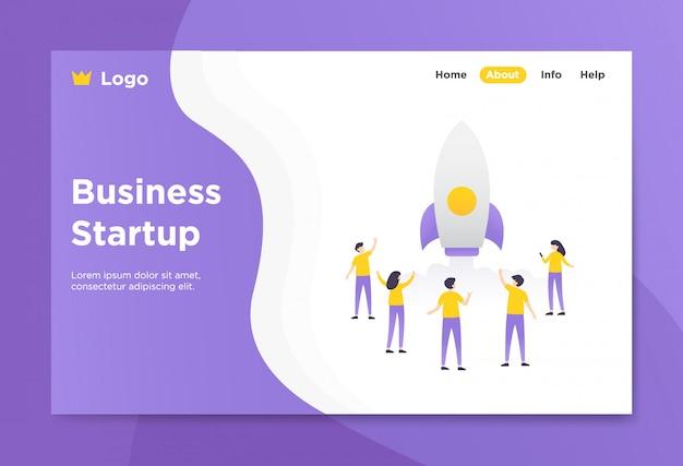 Ilustração de página de aterrissagem de inicialização de negócios