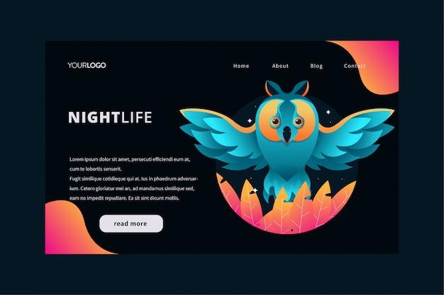 Ilustração de página de aterrissagem de natureza com tema de coruja vibrante