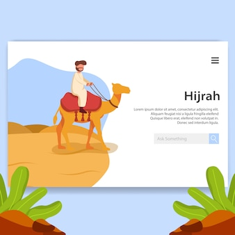 Ilustração de página de aterrissagem hijrah, design de interface do usuário de ano novo islâmico