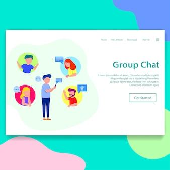 Ilustração de página de destino de bate-papo em grupo
