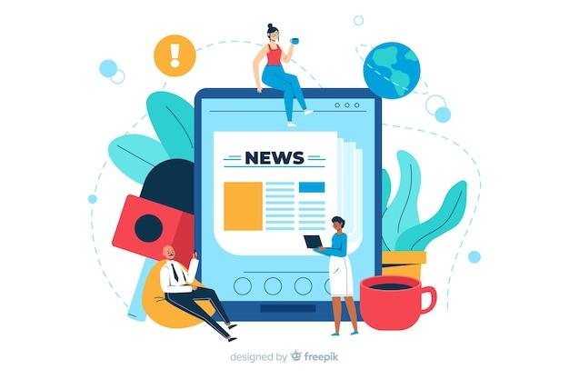 Ilustração de página de destino de conceito de notícias