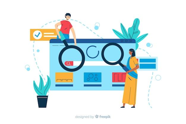 Ilustração de página de destino de conceito de pesquisa