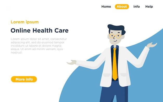 Ilustração de página de destino de cuidados de saúde