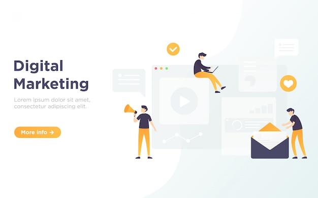 Ilustração de página de destino de marketing digital