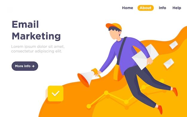 Ilustração de página de destino de marketing por e-mail