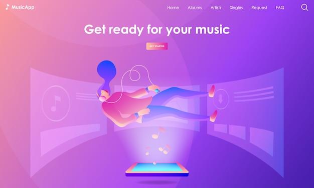 Ilustração de página de destino de música