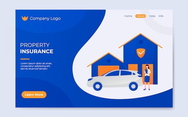 Ilustração de página de destino de seguro de propriedade plana moderna