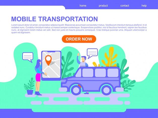 Ilustração de página de destino de transporte móvel on-line