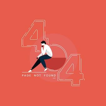 Ilustração de página de erro 404, homem sentado com emoção triste, ilustração de página não encontrada