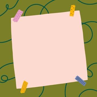 Ilustração de página de papel em branco com fita washi