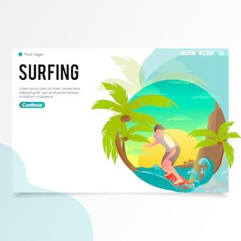 Ilustração de página de pouso surfing