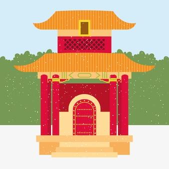 Ilustração de pagode chinês