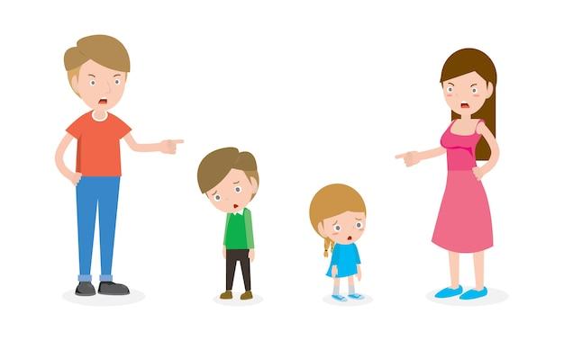 Ilustração de pai e mãe repreendendo filho e filha isolados
