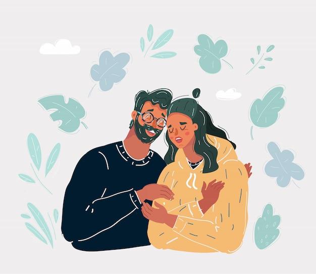 Ilustração de pai sênior confortando filha adulta triste