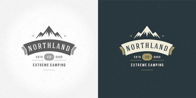 Ilustração de paisagem ao ar livre com logotipo de acampamento de montanha