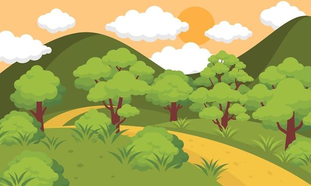 Ilustração de paisagem ao pôr do sol