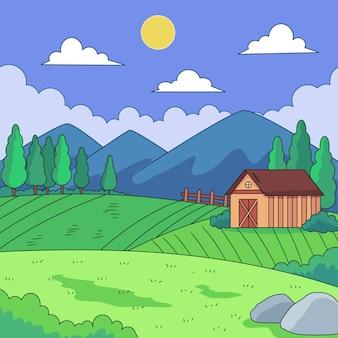 Ilustração de paisagem campestre