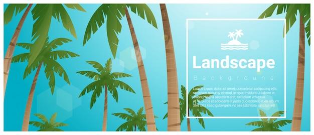 Ilustração de paisagem com palmeiras na praia tropical e modelo de texto