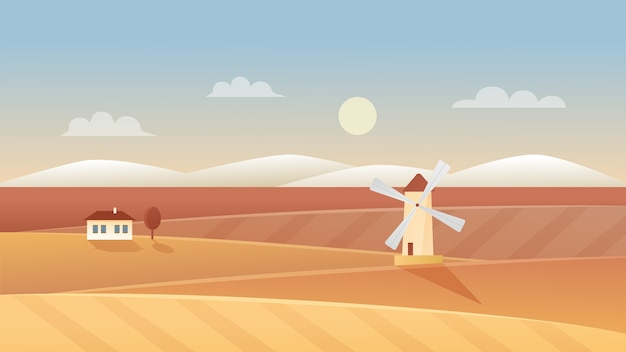 Ilustração de paisagem de agricultura outono. paisagem outonal panorâmica com moinho de vento e casa de aldeia de fazenda em campo de trigo orgânico rural, plano de fundo de cena agrícola de terras agrícolas