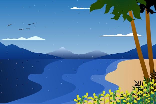 Ilustração de paisagem de céu e mar