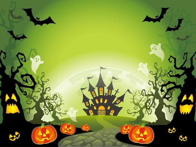 Ilustração de paisagem de halloween feliz com espaço de texto.