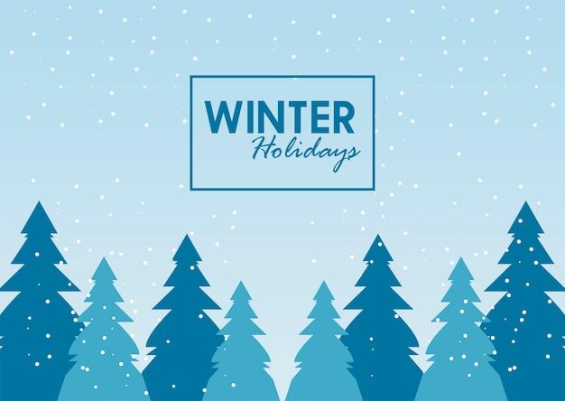 Ilustração de paisagem de inverno e letras de beleza azul