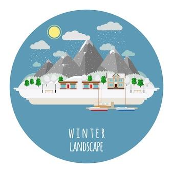 Ilustração de paisagem de inverno plana com cidade coberta de neve. sol e céu, montanhas e casa