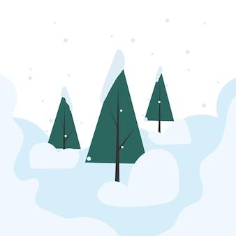 Ilustração de paisagem de inverno três árvores de natal na neve paisagem com montes de neve