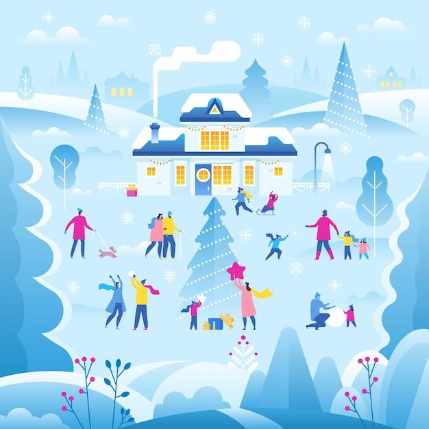 Ilustração de paisagem de inverno