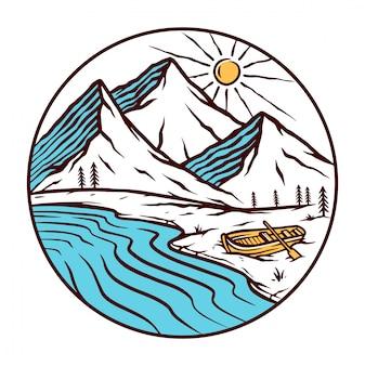 Ilustração de paisagem de montanha natural