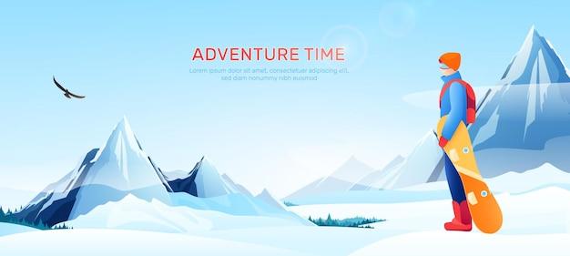 Ilustração de paisagem de neve