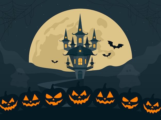 Ilustração de paisagem de noite de halloween com lua e castelo assustador e abóboras.